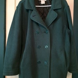L.L.Bean (I think) hunter green pea coat, size L
